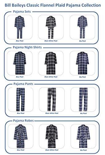 Bill Baileys Sleepwear Men's 100% Cotton Flannel Nightshirt Sleep Shirt (X-Large, Big Plaid)