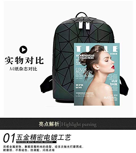 Zlk Backpack Geometric Rhombic Backpack Laser Shoulder Bag Collapsible Silicone Diamond Backpack