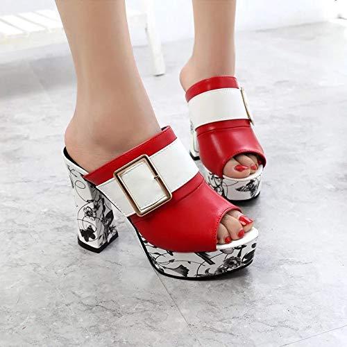 Fibbia 37 In Hong Con Estivo Alto Sandali E Nuovi Europeo white Scarpe Donna Americano Da 40 Jia Red Tacco Metallo vPwBTqB