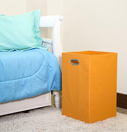 Modern Littles Folding Laundry Basket with Handles – High-Strength Polymer Construction – Folds for Easy Storage and Transportation – 13.75 Inches x 13.75 Inches x 22.75 Inches – Orange