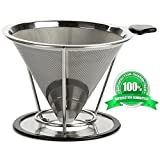 --By Vislep--Coffee Dripper--Best Pour Over Coffee Filter Stainless Steel--(304)--Paperless and Reusable Coffee Maker Stand--Clever Coffee Cone Permanent for cup--Metal Large Coffee Cone Stainless--