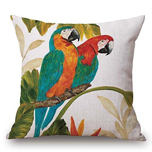"JES&MEDIS Home Cotton Linen Decorative Square Throw Pillowcase Cute Birds Cartoon Patten Cushion Pillows Cover,18"" x 18""."