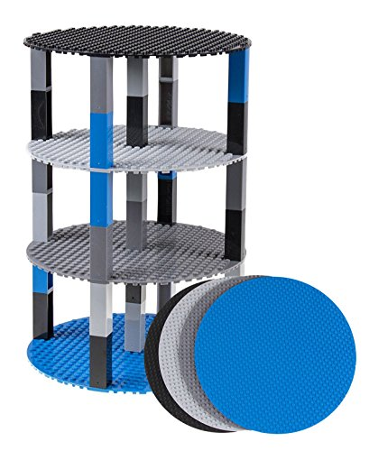 Classic Stackable 8 Circle Baseplate Brik Tower by Strictly Briks | Building Brick Set | 100% Compatible with All Major Brands | 4 Base Plates & 30 Stackers | Space Themed Colors