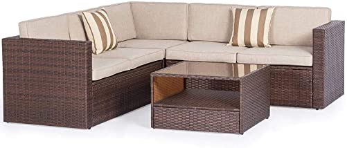 Crownland Outdoor Furniture 4-Piece 5 Seats Sofa Sectional Set All-Weather Brown Wicker