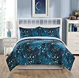 Soft and Durable VCNY Home Through the Milky Way Bedding Comforter Set,Reversible,2 Stellar Styles in 1,Moons,Stars and Constellations on One Side,Blue and White Pattern on the other,Twin