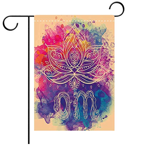 BEICICI Double Sided Premium Garden Flag Chakra Decor Psychedelic Oriental Lettering and Lillies with Surreal Hallucinatory Background Multi Best for Party Yard and Home Outdoor Decor