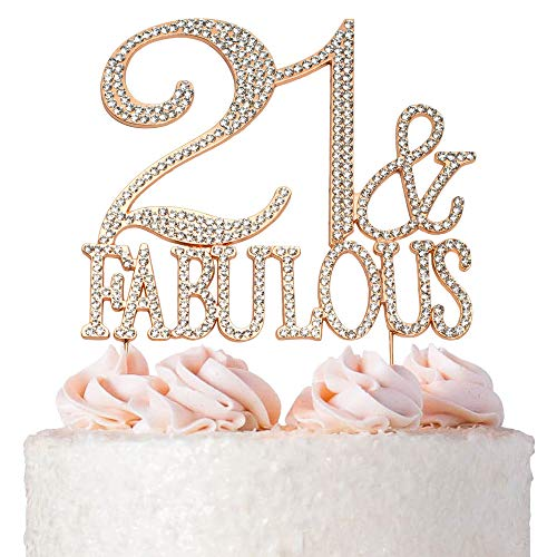 21 & Fabulous Cake Topper | ROSE GOLD | Premium Sparkly Crystal Rhinestone Diamond Gems | 21st Birthday Party Decoration Ideas | Quality Metal Alloy | Perfect ()