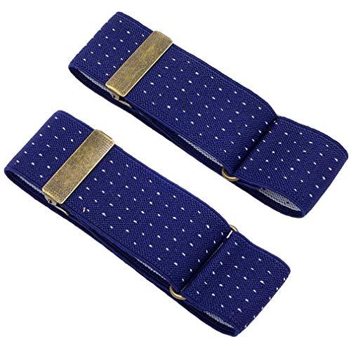 Men's 2 PCS Polka Dots Elastic Adjustable Sleeve Holders Armbands 1.4 Inch Width