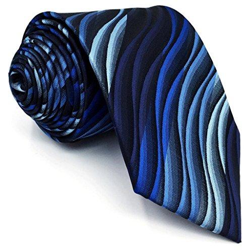 Shlax&Wing Ripple Blue New Men Design Necktie Ties Wedding Graduated (Ripple Tie)