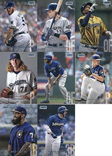 2018 Topps Stadium Club Baseball Milwaukee Brewers Team Set of 11 Cards: Brandon Woodruff(#89), Keon Broxton(#107), Christian Yelich(#136), Ryan Braun(#221), Domingo Santana(#222), Josh Hader(#224), Lorenzo Cain(#225), Orlando Arcia(#235), Zach Davies(#238), Eric Thames(#259), Travis Shaw(#265)