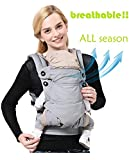 Baby Carrier Backpack front and back 360° Ergonomic,Soft Structured Sling Comfortable Breathable&100%Cotton,All season&Perfect for Infant Toddler and newborn,Carries children from 7.5-44lbs(GREY)