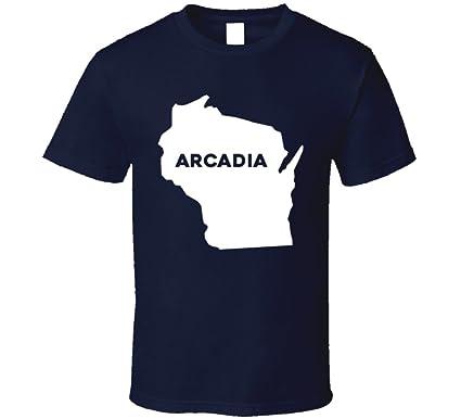 Amazon Com Arcadia Wisconsin City Map Usa Pride T Shirt Clothing