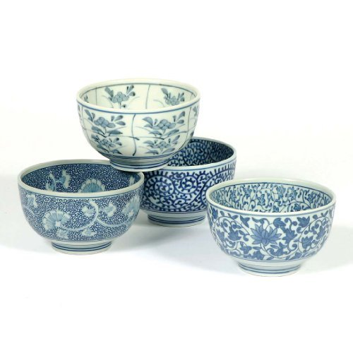 Japanese Sometsuke Bowl Set includes 4 Bowls