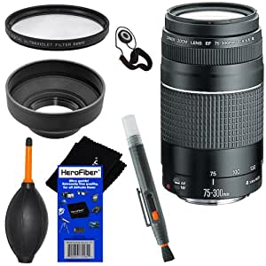 Canon EF 75-300mm f/4-5.6 III Telephoto Zoom Lens for Canon series Digital SLR Cameras + 6pc Bundle Accessory Kit