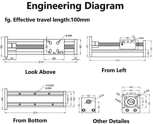 Linearf/ührung Schiebetisch Bewegungssystem f/ür CNC und 3D Drucker Antrella 100mm Effektiver Hub Kugelgewindetrieb mit RM1204 SFU1204 mit 57 Schrittmotor Nema 23