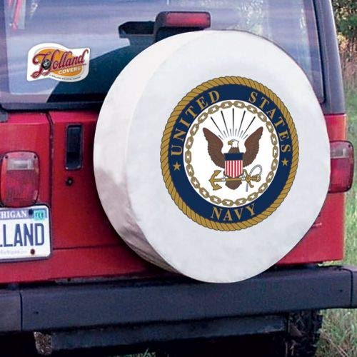 - Holland Covers TCJNavyWT White 27 x 8 Spare Tire Wheel Cover (U.S. Navy for Jeeps RV or Trailer - Exact Fit)