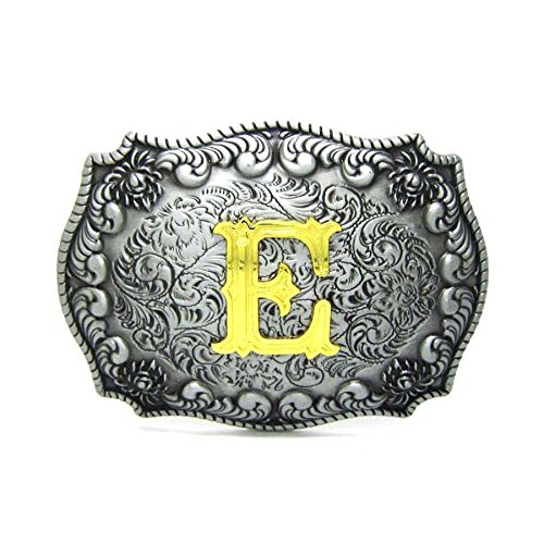 Initial Letters Western Style Cowboy Rodeo Gold/Silver Large Belt Buckles (E)