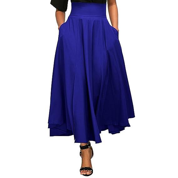 Juleya Faldas Mujer Vintage Maxi Falda Retro sólido Falda de ...