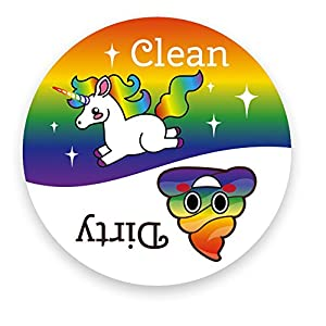 Dishwasher Emoji Magnet Clean Dirty 3 inch White Round Magnet – Cute Unicorn & Funny Rainbow Poop Face Emojis – Kitchen…