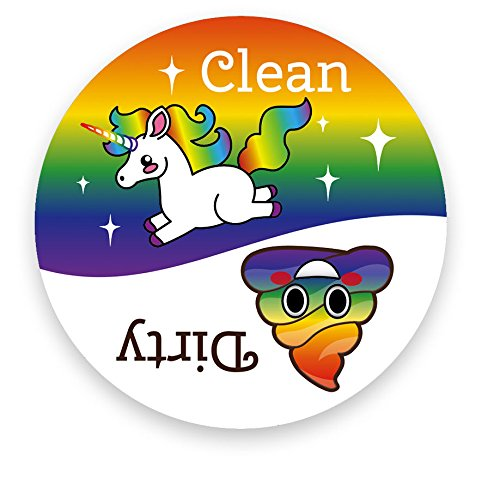 Dishwasher Emoji Magnet Clean Dirty 3 inch White Round Magnet - Cute Unicorn & Funny Rainbow Poop Face Emojis - Kitchen… 3