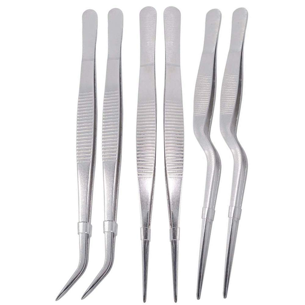 Dohuge 6 Pieces Tongs Tweezers Stainless Steel Tongs Tweezer with Precision Serrated Tips for Cooking Culinary and Medical Beauty Utensils, 6.3 Inch