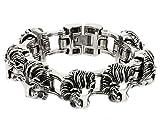 Beydodo Men Stainless Steel Bracelet Singham Lion Biker Chain Massive, Silver, 222CM, 245G