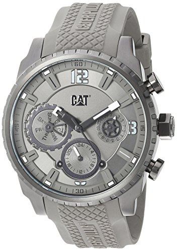 CAT WATCHES Men's 'Mossville Multi' Quartz Stainless Steel and Silicone Casual, Color:Grey (Model: AC15925521) by CAT WATCHES
