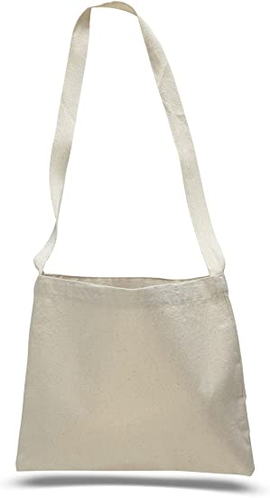 Cross Body Canvas Totes Small Messenger Tote Bags Long Shoulder Straps Set of 12, Natural