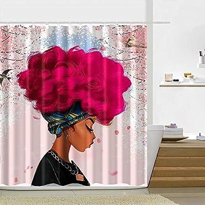 180X180CM Waterproof Polyeaster Bathroom African Woman Shower Curtain hooks