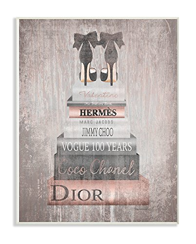The Stupell Home Decor Collection Book Stack Heels Metallic Pink Wall Plaque Art, Multicolor (Wall Glam Decor)