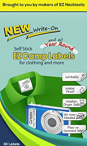 SELF-Stick Write-ON EZ Camp Labels for Clothing and All Personal Items - 60 No-Iron Kids Clothing Labels - Washer and Dryer -