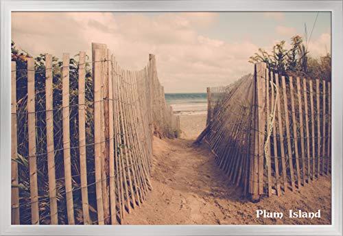 Plum Island, New York - Sandy Trail to Ocean - Photography 98204 (36x24 Giclee Art Print, Gallery Framed, Silver Wood) from Lantern Press