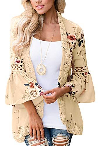 Women's Floral Print Short Sleeve Shawl Chiffon Kimono Cardigan Casual Blouse Tops(Khaki S)
