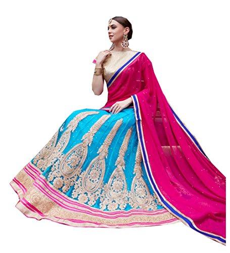 IWS Womens Sky Blue Striking Lehenga Choli With Lace Work 80923