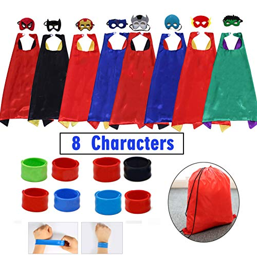 Kids Cartoon Dress Up Costumes Satin 8pcs Characters Superhero Capes with Felt Masks and Slap -