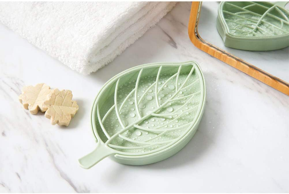 Leaf Soap Holder Dish Bathroom Shower Storage Plate Stand Dishes Container Tray