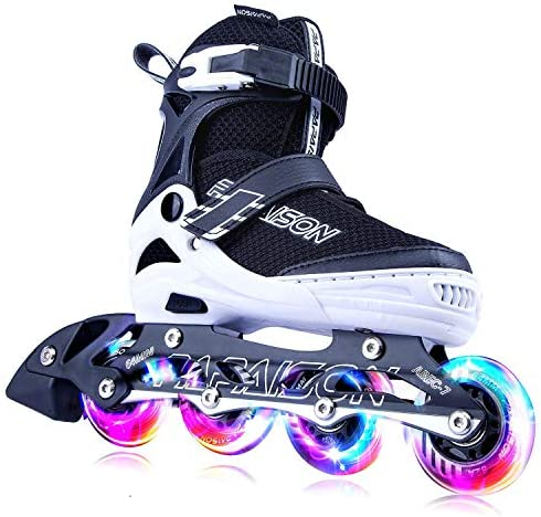 PAPAISON Adjustable Inline Skates for Kids and Adults with Full Light Up Wheels, Outdoor Blades Roller Skates for Girls and Boys, Men and Women
