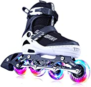 PAPAISON Adjustable Inline Skates for Kids and Adults with Full Light Up Wheels, Outdoor Blades Roller Skates