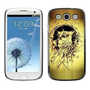 FlareStar Colour Printing Owl Bird Yellow Tattoo Black Ink Painting cáscara Funda Case Caso de plástico para SAMSUNG Galaxy S3 III / i9300 / i747