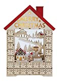 Heart of America Wood House Advent Calendar With Boxes And LED - 2 Pieces