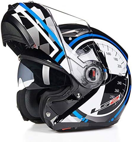 ZJJ ヘルメット- 覆い隠しヘルメット、ユニセックスヘルメット、雨および紫外線保護用ヘルメット、二重層レンズ (色 : 青, サイズ さいず : XXL)