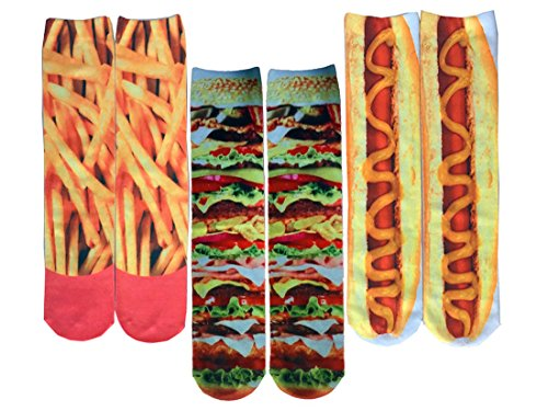 SherryDC Men's Novelty Funny Crazy Graphic Photo 3D Print Casual Long Crew Tube Socks,One Size,3-pack(135) -