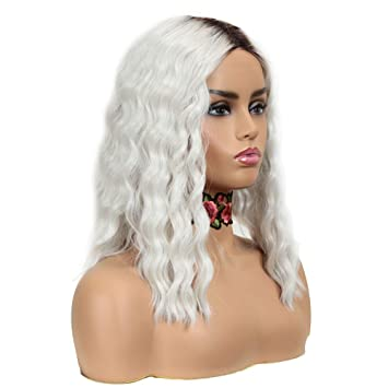 13/'/' Wavy Lace Front Wig with 1/'/' lace no Bangs Snow White Wig NEW