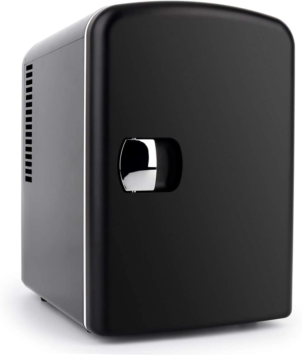 Living Enrichment TMF-4R-Black Compact Personal Mini Fridge 4 Liter/6 Can 100% Free CFC & HCFC, Portable Thermoelectric Cooler/Warmer for Skincare Foods, Medications, Bedroom, Travel and Car, Black