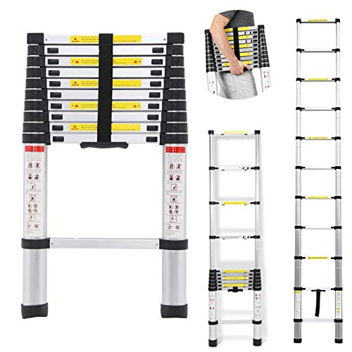 DICN 10.5 Feet Telescoping Ladder Extension Folding Aluminum Ladders Light Weight Retractable Collapsible 330lbs Capacity for Home Office Indoor Outdoor Loft Attic Roof Work DIY Builder ()