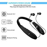 Bluetooth Headset, Bluetooth Headphones SX991-LBell Wireless Neckband Design with Foldable Retractable Headset for iPhone X/8/7 Plus Samsung Galaxy S9 Note 8 and Other Bluetooth Enabled Devices