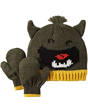Baby Boys' Knit Hat & Glove Set