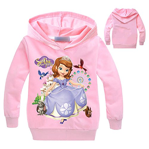 PCLOUD Sofia The First Girls Cartoon Printing Long Sleeved Hoodie Sport Coat Sweater Jacket -