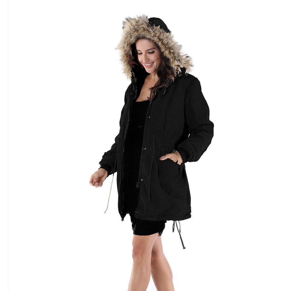 OMONSIM Women Hoodie Zip Up Fur Coat Autumn Winter Warm Jacket Plus Size Parka Outwear (XX-Large, Thick_Black) by OMONSIM (Image #2)