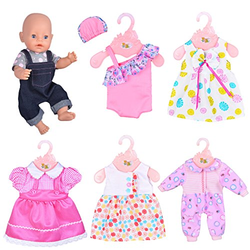 Ebuddy 6 Sets Doll Clothes Outfits Costume for 14 to 16 Inch New Born baby Dolls and 18 Inch American (16 Costume)